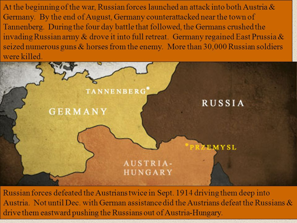 At the beginning of the war, Russian forces launched an attack into both Austria & Germany. By the end of August, Germany counterattacked near the town of Tannenberg. During the four day battle that followed, the Germans crushed the invading Russian army & drove it into full retreat. Germany regained East Prussia & seized numerous guns & horses from the enemy. More than 30,000 Russian soldiers were killed.