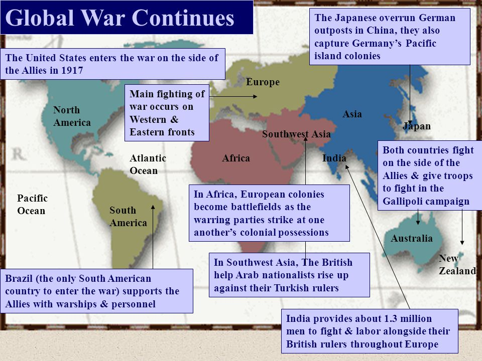 Global War Continues The Japanese overrun German outposts in China, they also capture Germany's Pacific island colonies.