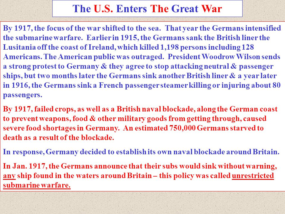 The U.S. Enters The Great War