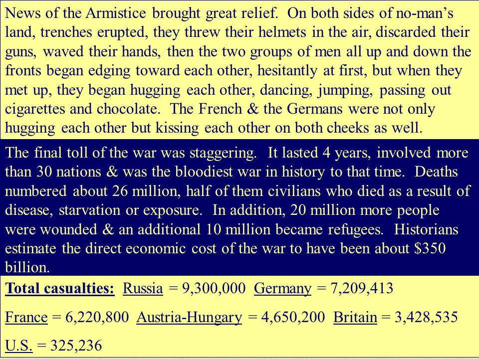 News of the Armistice brought great relief