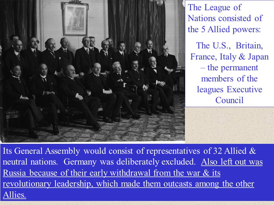 The League of Nations consisted of the 5 Allied powers: