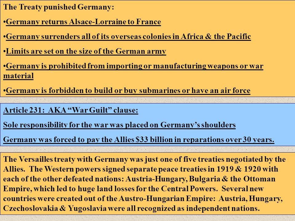 The Treaty punished Germany: