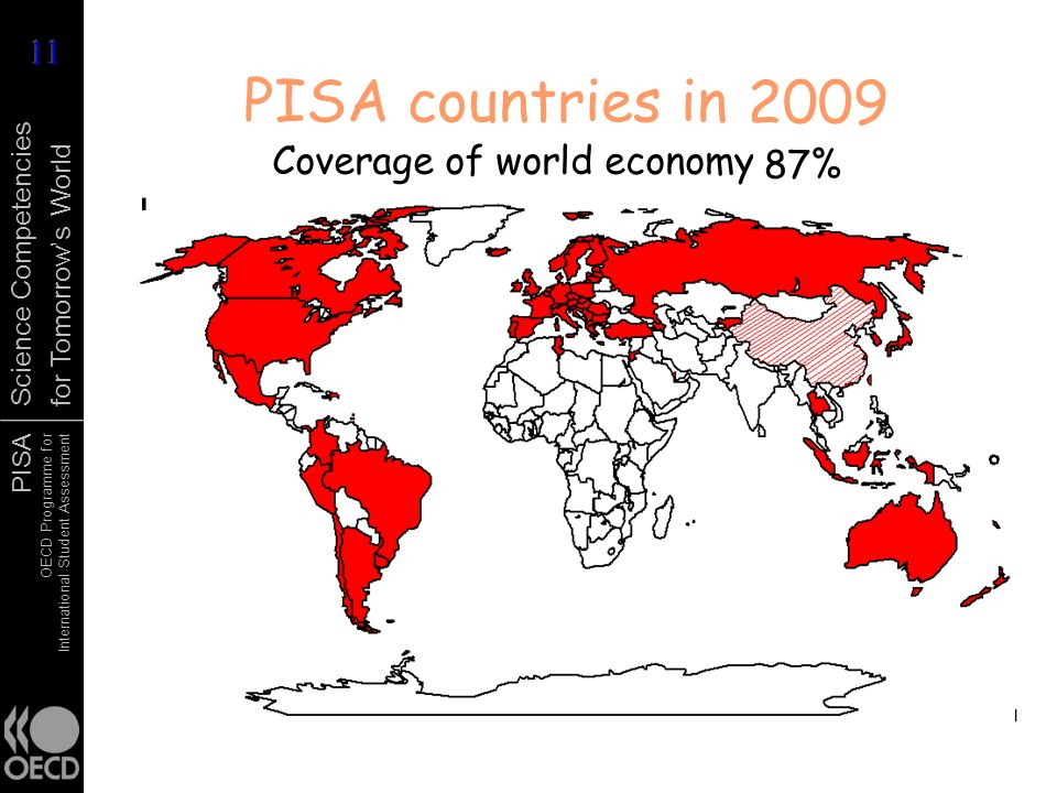 PISA countries in 2006 1998 2003 2009 2000 2001 Coverage of world economy 86% 85% 87% 81% 77% 83%