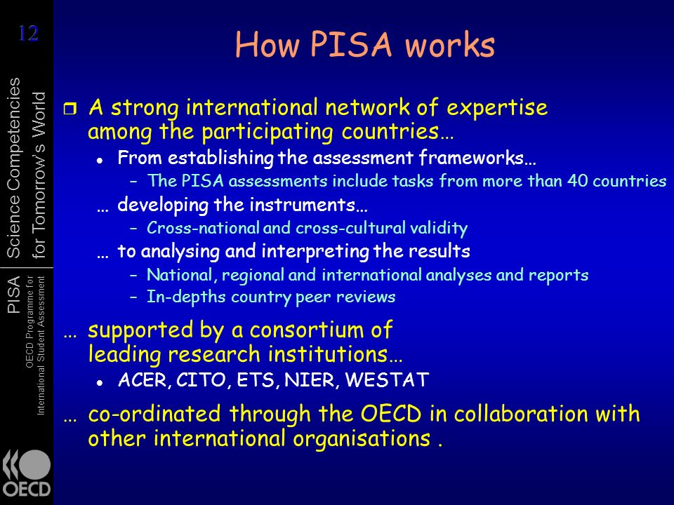 How PISA works A strong international network of expertise among the participating countries… From establishing the assessment frameworks…