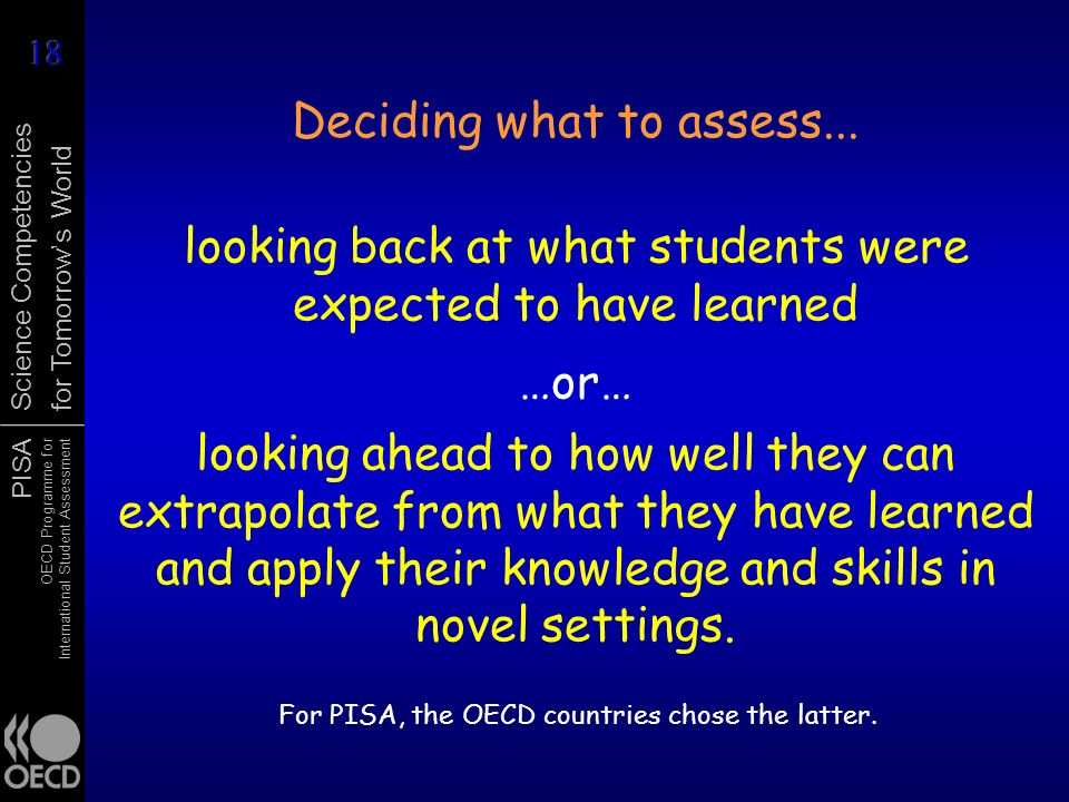 Deciding what to assess...