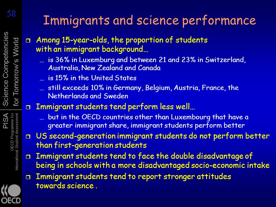 Immigrants and science performance