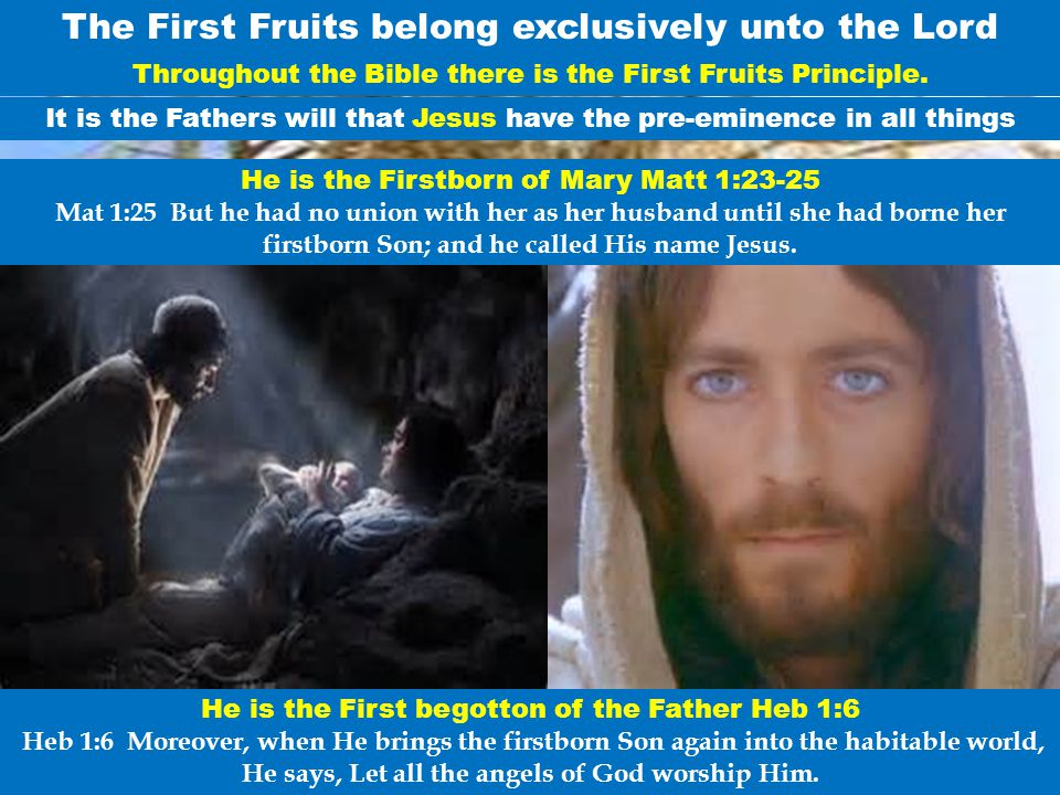 The First Fruits belong exclusively unto the Lord