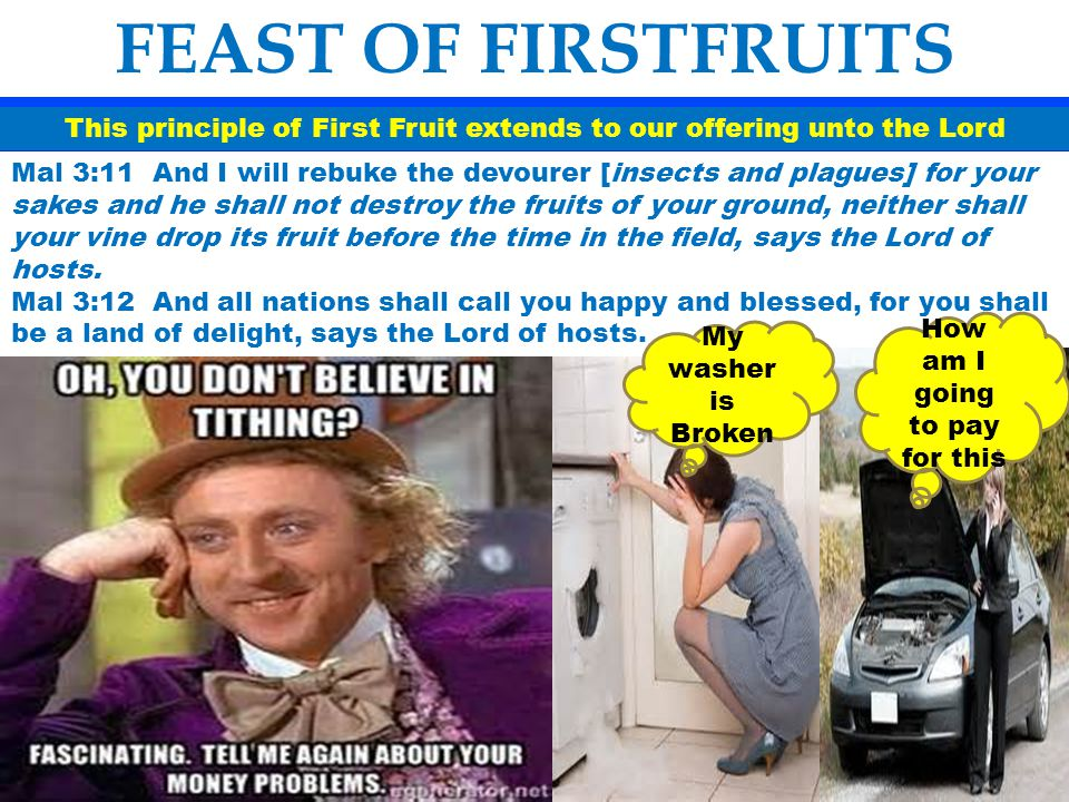 This principle of First Fruit extends to our offering unto the Lord