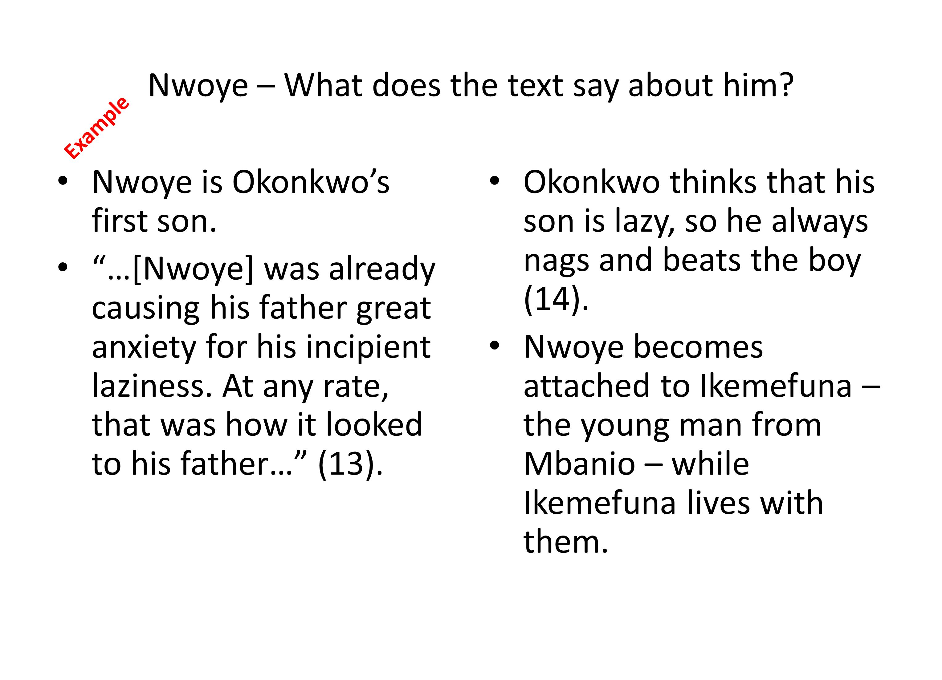 Nwoye – What does the text say about him