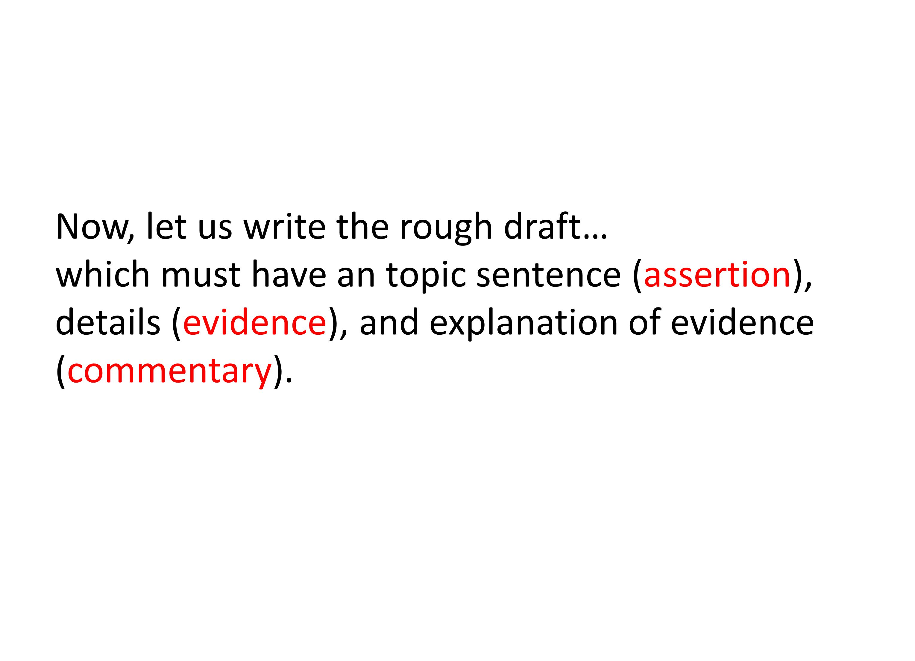 Now, let us write the rough draft… which must have an topic sentence (assertion), details (evidence), and explanation of evidence (commentary).