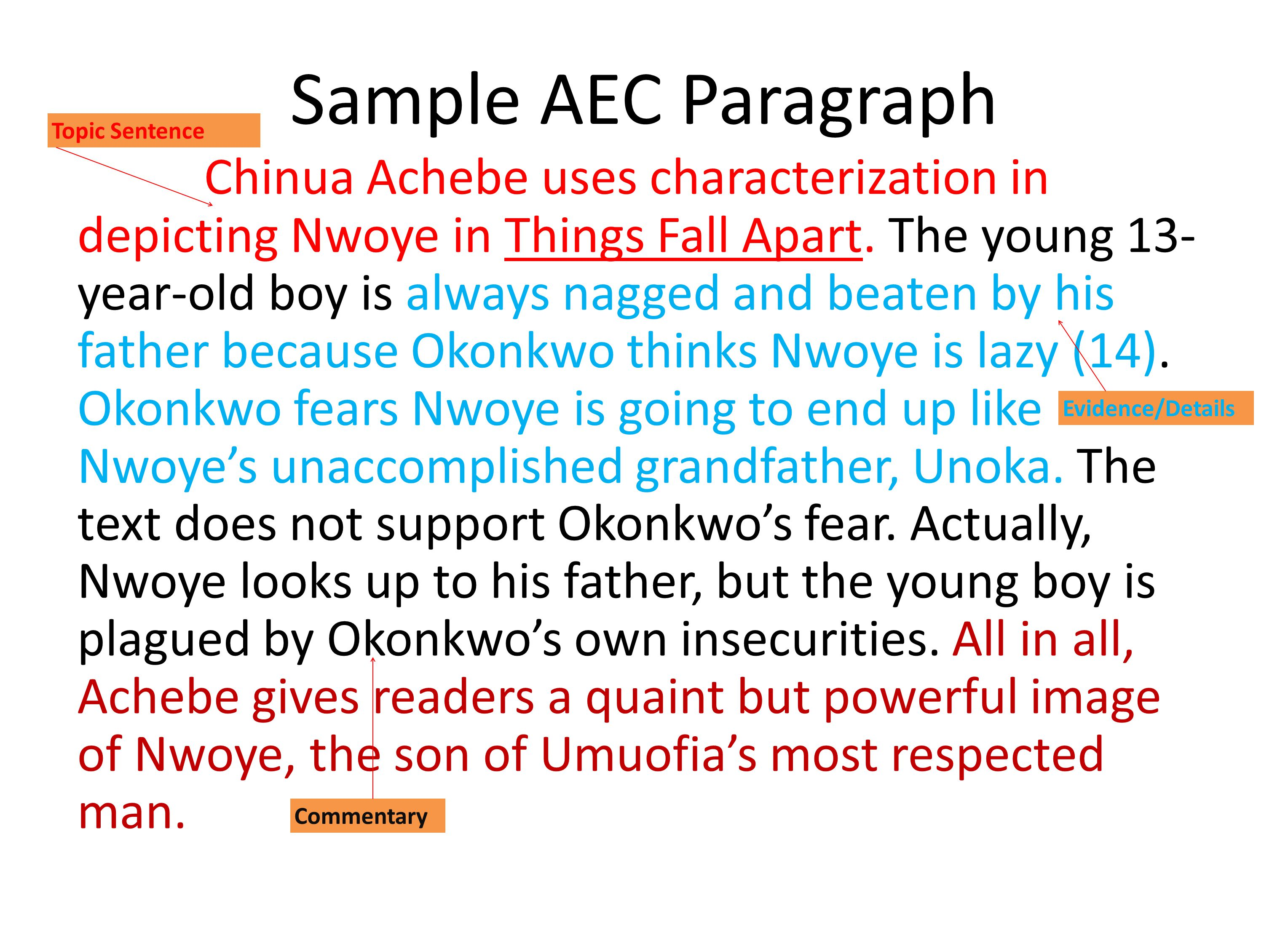 Sample AEC Paragraph Topic Sentence.