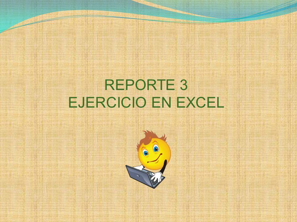 REPORTE 3 EJERCICIO EN EXCEL