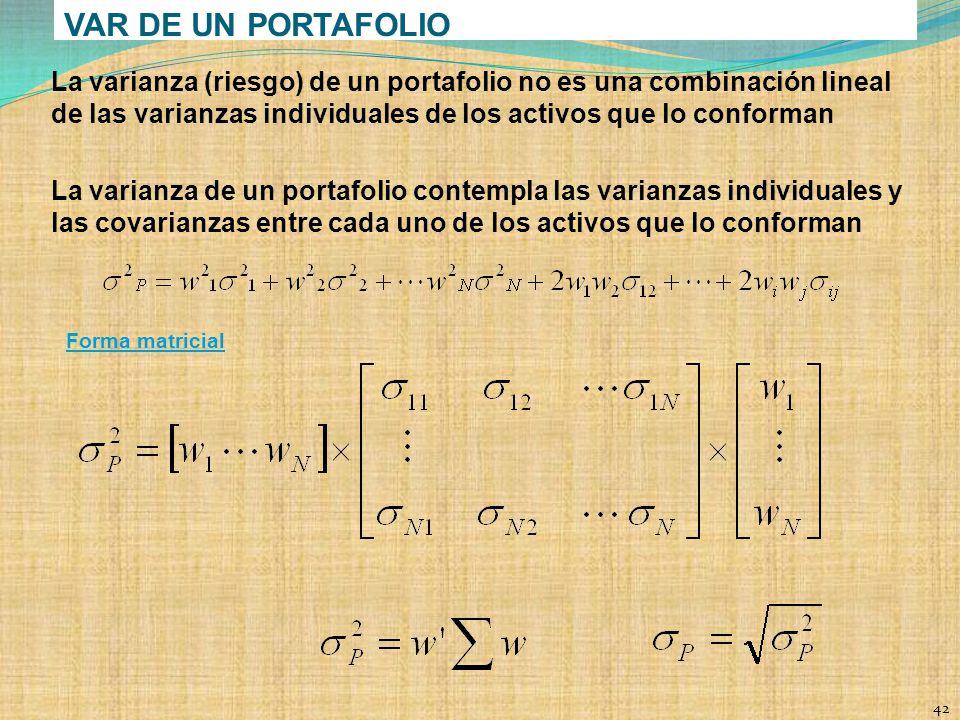 VAR DE UN PORTAFOLIO La varianza (riesgo) de un portafolio no es una combinación lineal de las varianzas individuales de los activos que lo conforman.