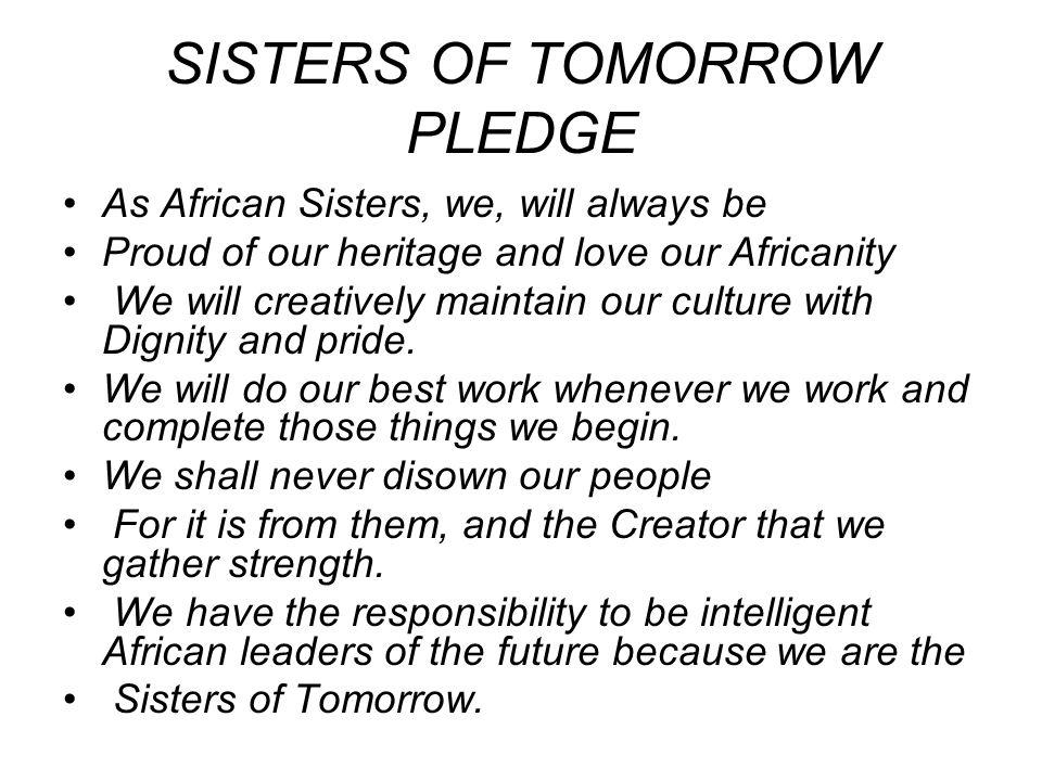 SISTERS OF TOMORROW PLEDGE