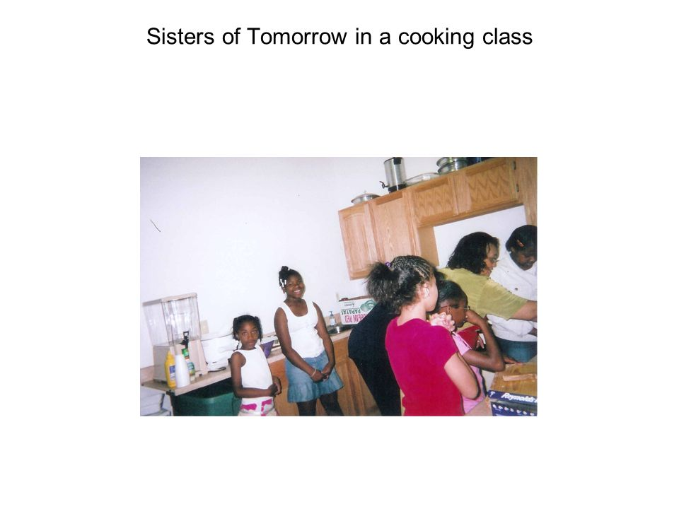 Sisters of Tomorrow in a cooking class