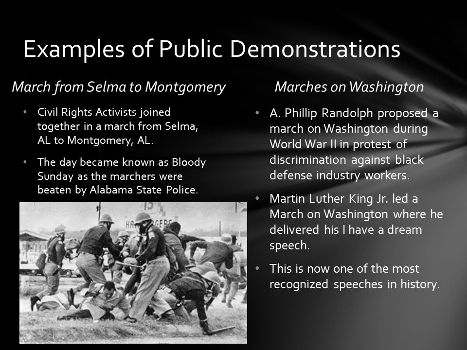 Examples of Public Demonstrations