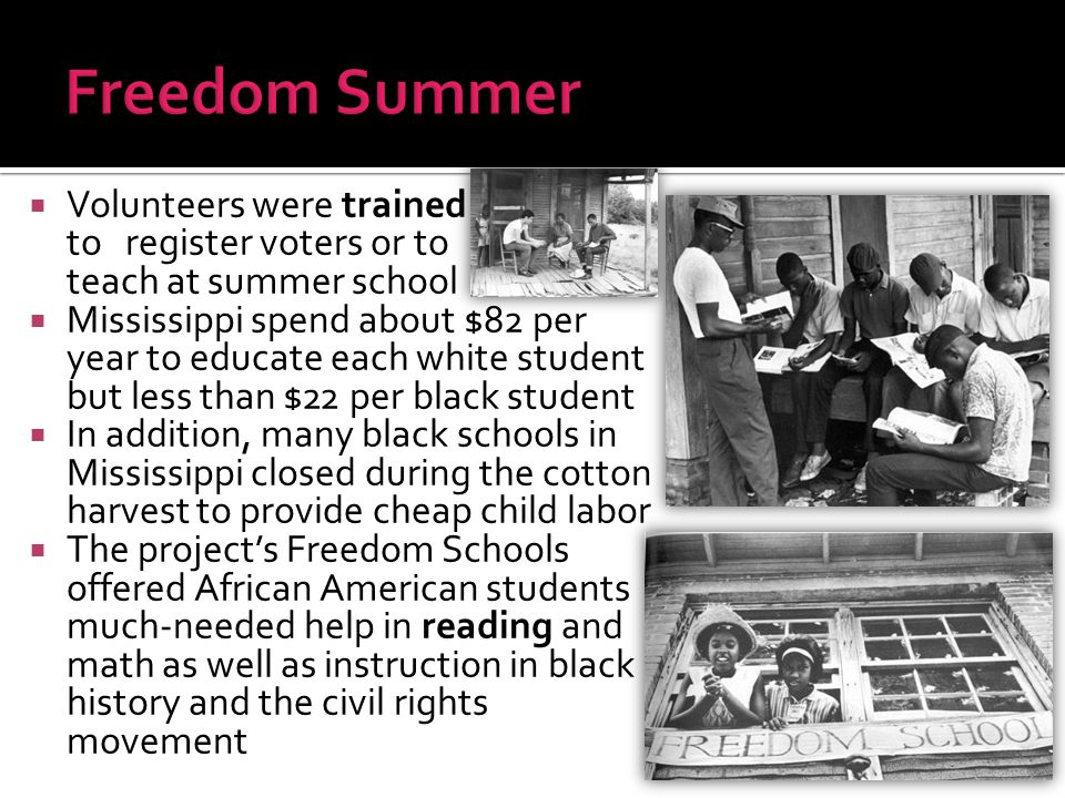 Freedom Summer Volunteers were trained to register voters or to teach at summer school.