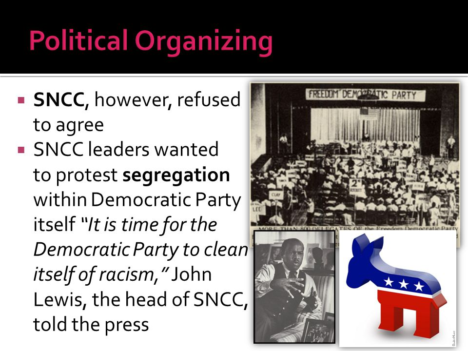 Political Organizing SNCC, however, refused to agree