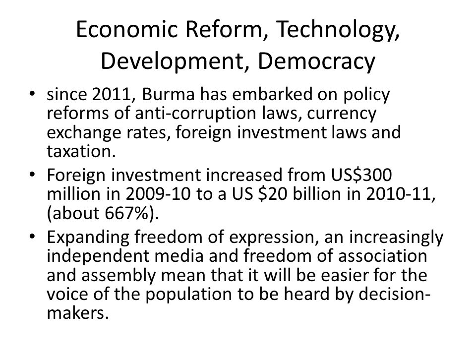 Economic Reform, Technology, Development, Democracy
