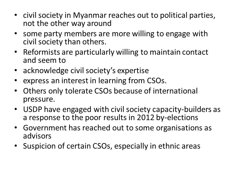 civil society in Myanmar reaches out to political parties, not the other way around