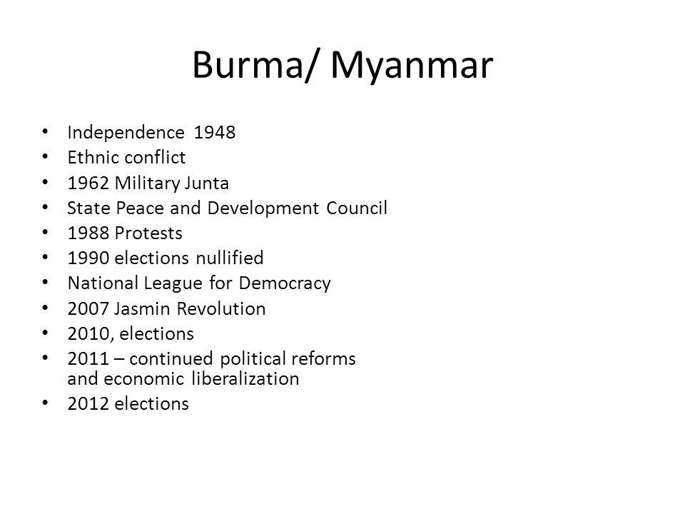 Burma/ Myanmar Independence 1948 Ethnic conflict 1962 Military Junta