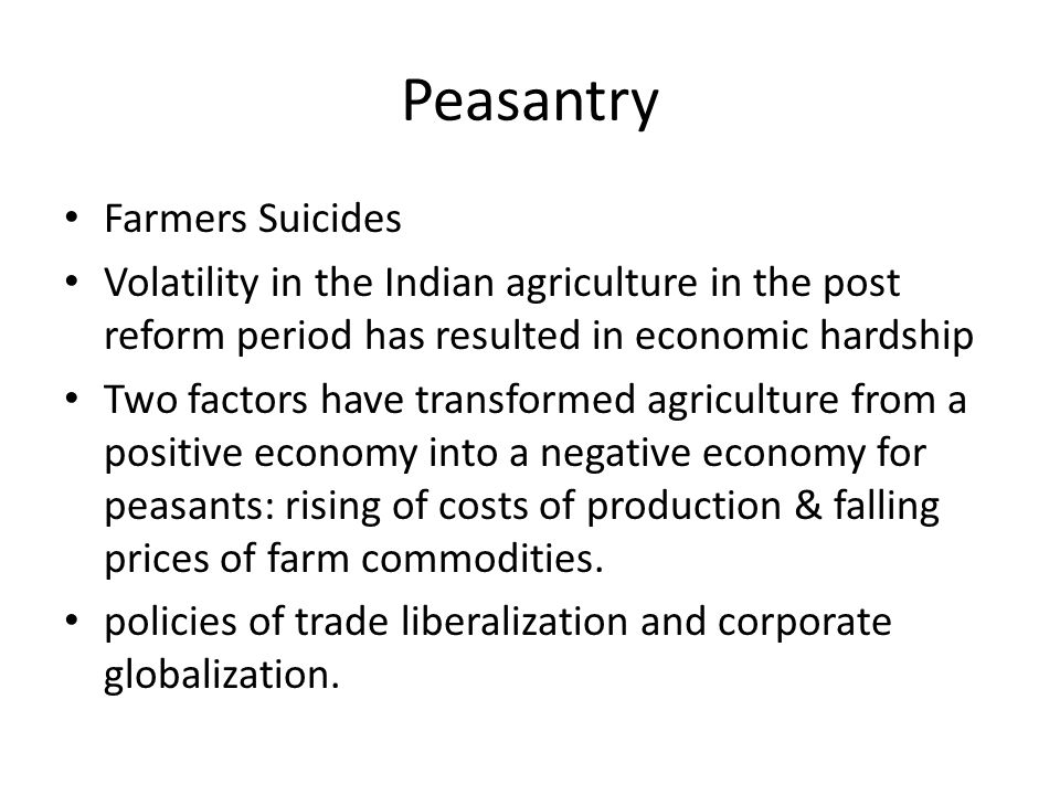 Peasantry Farmers Suicides