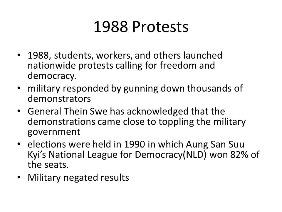 1988 Protests 1988, students, workers, and others launched nationwide protests calling for freedom and democracy.