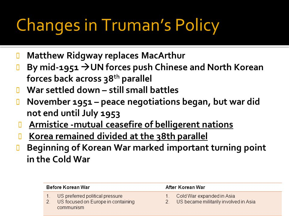Changes in Truman's Policy