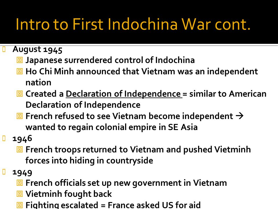 Intro to First Indochina War cont.