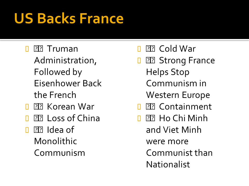 US Backs France  Truman Administration, Followed by Eisenhower Back the French.  Korean War.  Loss of China.