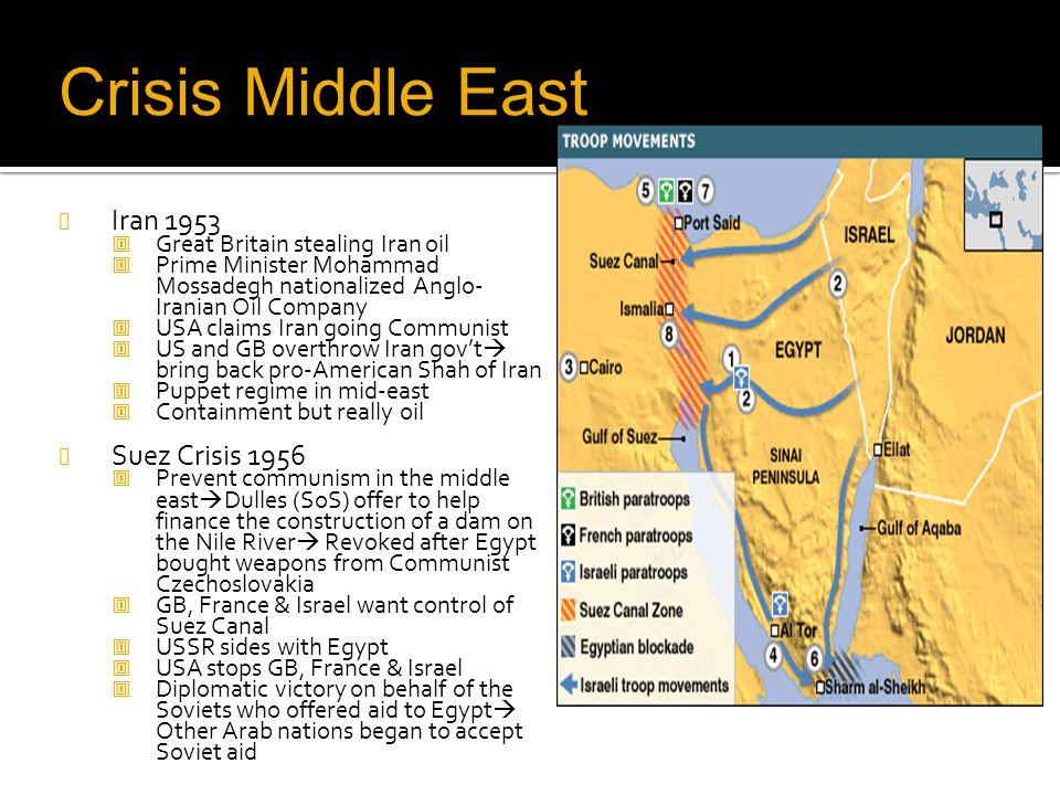 Crisis Middle East Iran 1953 Suez Crisis 1956