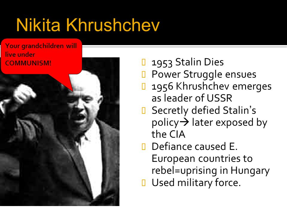 Nikita Khrushchev 1953 Stalin Dies Power Struggle ensues