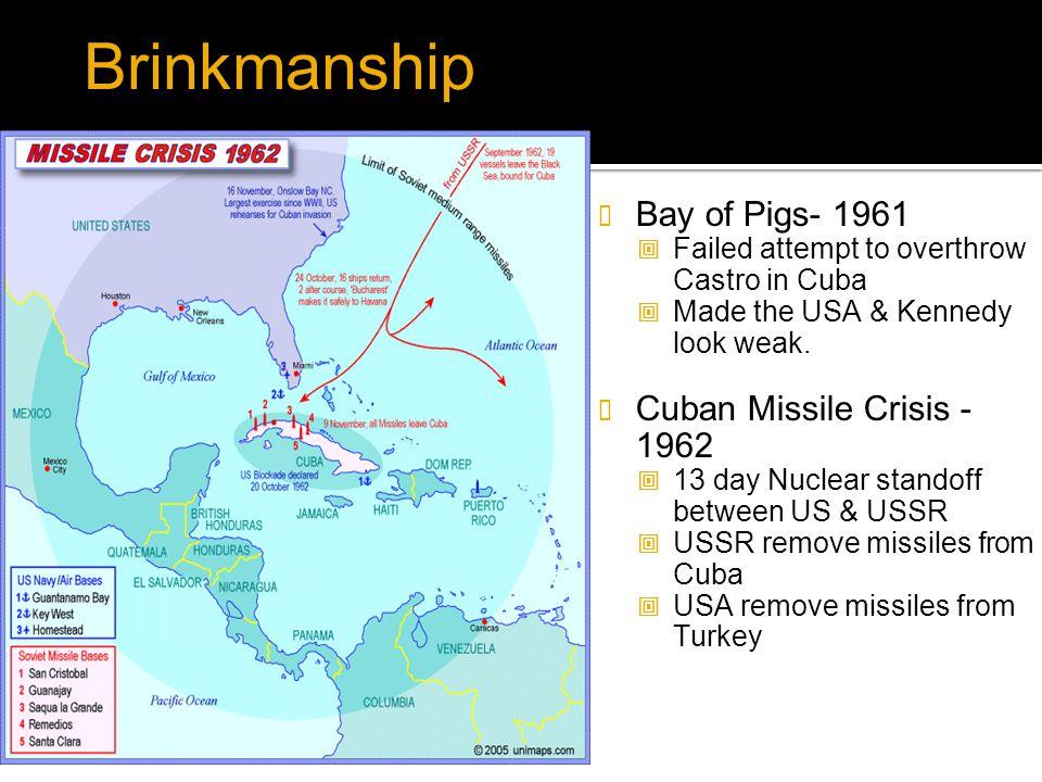 Brinkmanship Bay of Pigs- 1961 Cuban Missile Crisis -1962