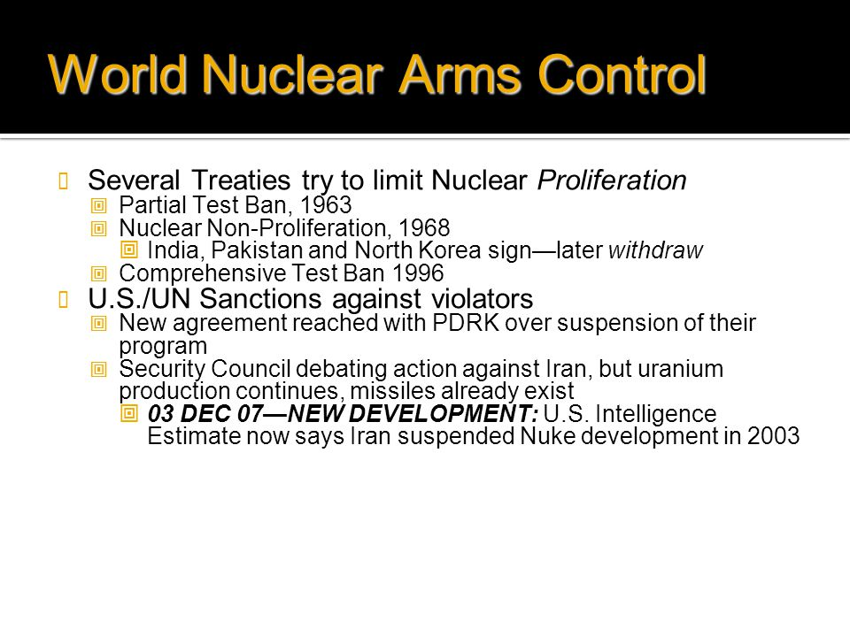 World Nuclear Arms Control