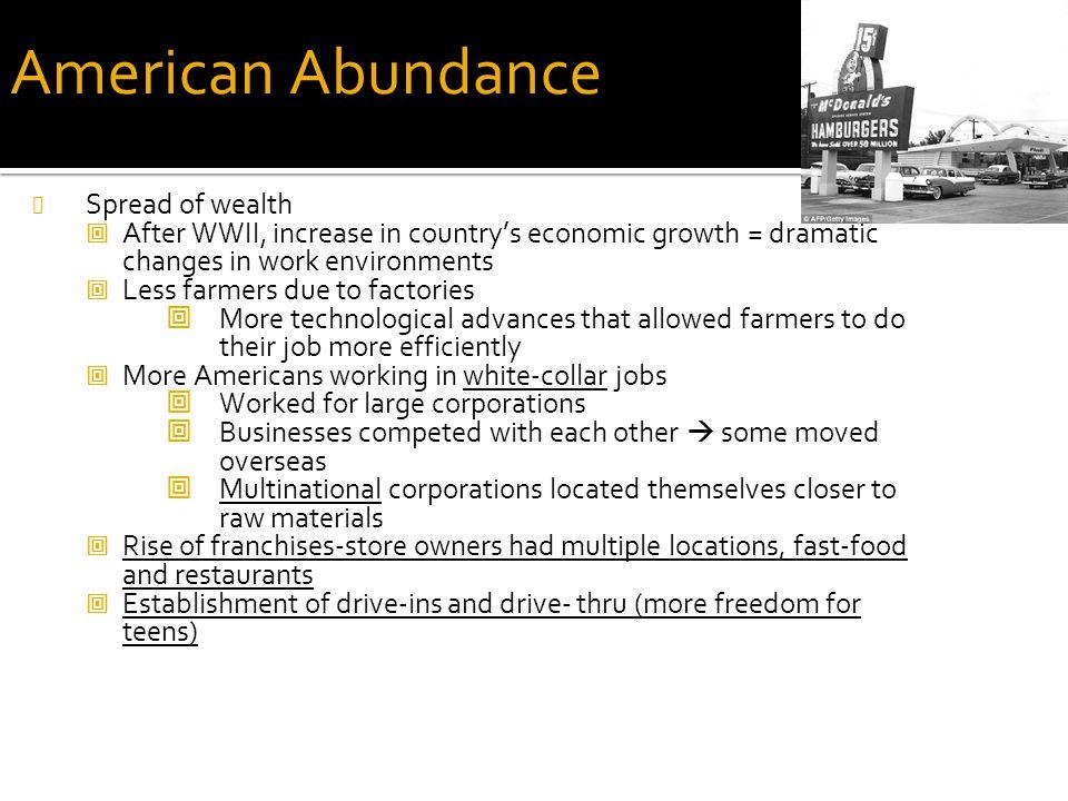 American Abundance Spread of wealth
