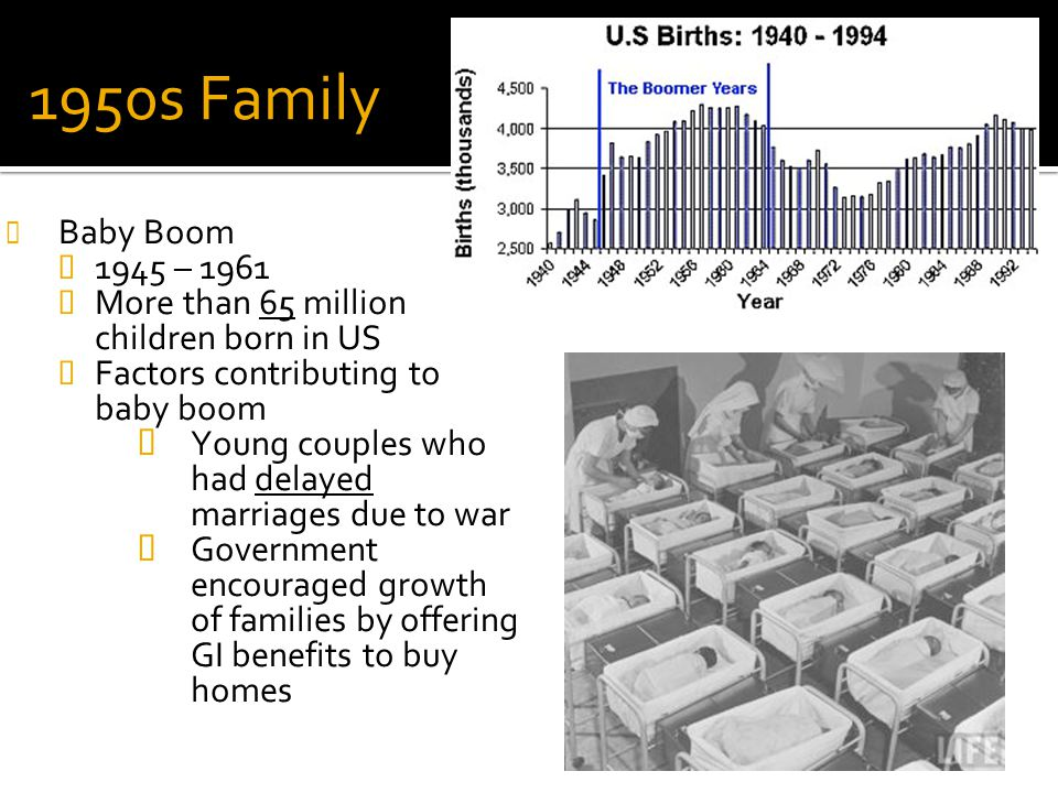 Review: # 33a 1950s Family. Baby Boom. 1945 – 1961. More than 65 million children born in US. Factors contributing to baby boom.