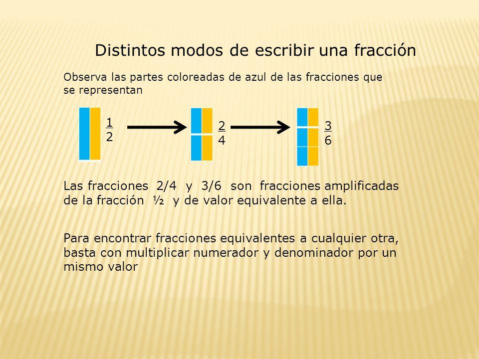 Distintos modos de escribir una fracción