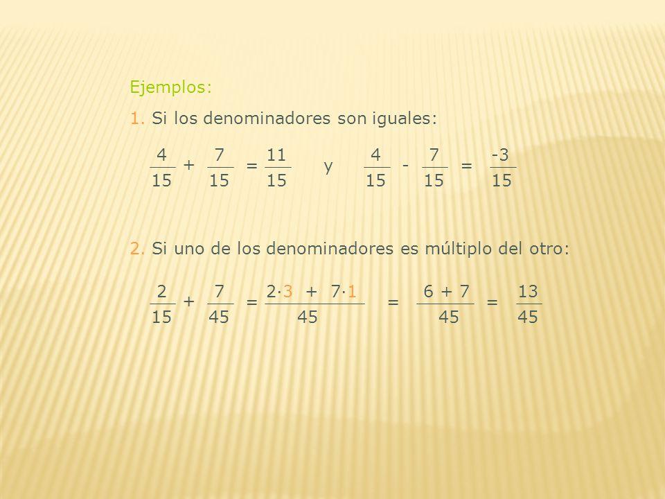 Ejemplos: 1. Si los denominadores son iguales: 4. 15. + 7. 11. 15. 4. 15. - 7. -3. 15. =