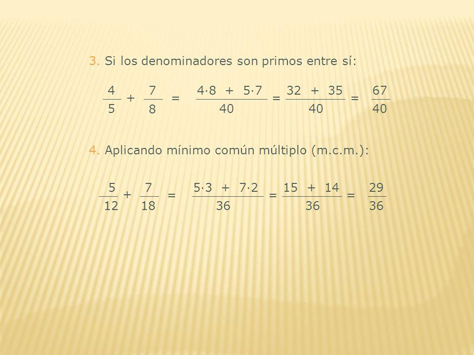 3. Si los denominadores son primos entre sí: