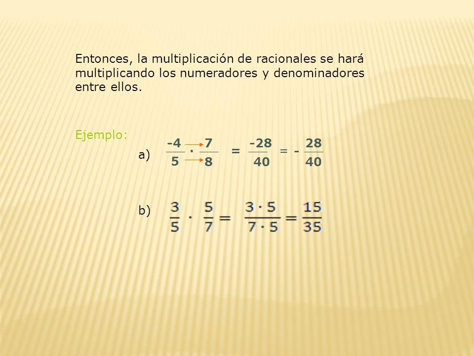 Entonces, la multiplicación de racionales se hará