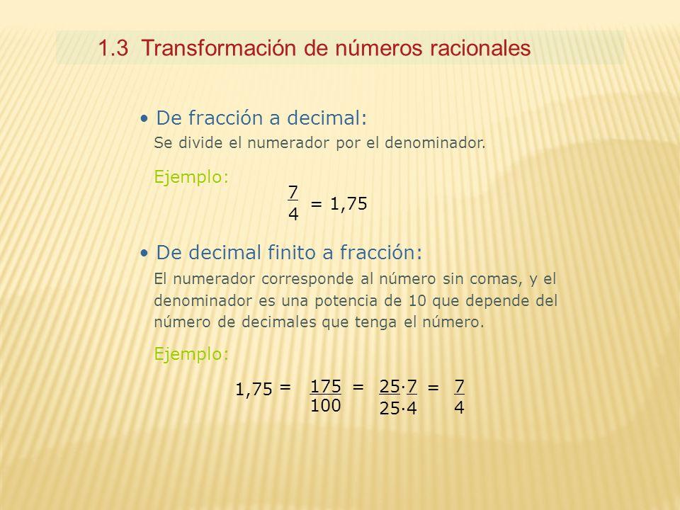 1.3 Transformación de números racionales