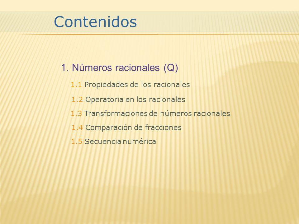 Contenidos Números racionales (Q) 1.1 Propiedades de los racionales