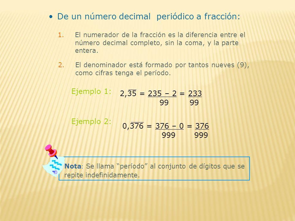 De un número decimal periódico a fracción: