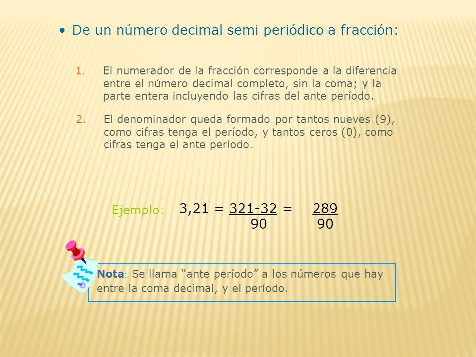 De un número decimal semi periódico a fracción: