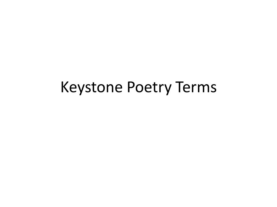 Keystone Poetry Terms