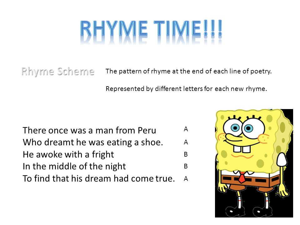 Rhyme Time!!! Rhyme Scheme There once was a man from Peru