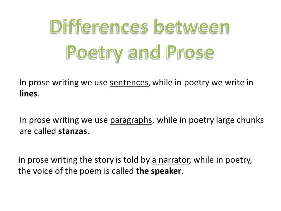 Differences between Poetry and Prose