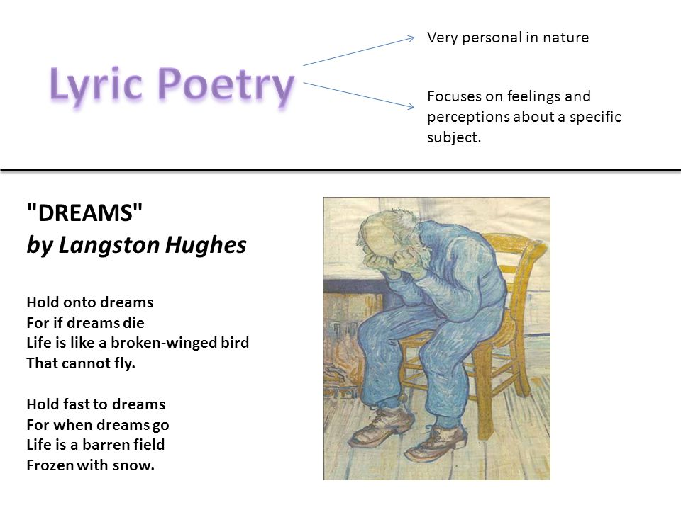 Lyric Poetry DREAMS by Langston Hughes Very personal in nature