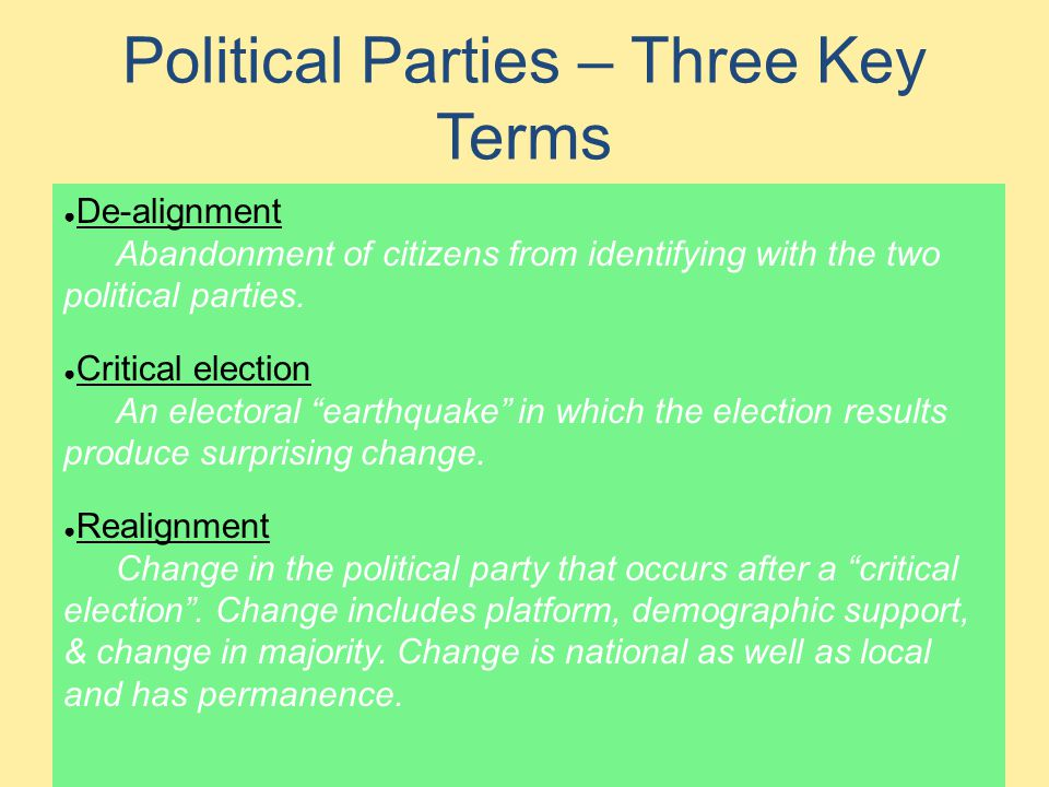 Political Parties – Three Key Terms
