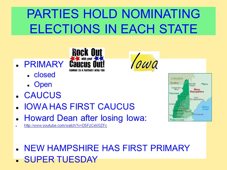 PARTIES HOLD NOMINATING ELECTIONS IN EACH STATE
